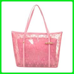 5657509f2c Women Transparent Flower Printed Casual Shoulder Tote Beach Bag, Pink -  Totes (*Amazon