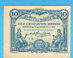 Notas de Portugal e Estrangeiro World Paper Money and Banknotes: Portugal 10 Centavos 1917