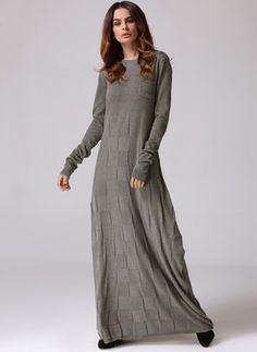Cotton Solid Long Sleeve Maxi Casual Dresses (1029170) @ floryday.com