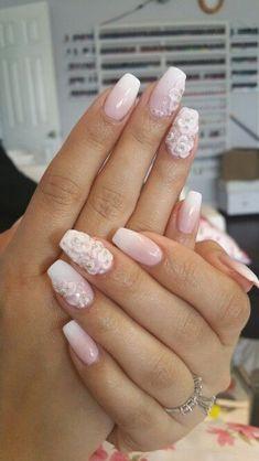 Nails by knock at top coat nail bar in san jose ca. call for appointment 4083804737 Get Nails, Love Nails, Bridal Nails, Wedding Nails, Stylish Nails, Trendy Nails, Blush Pink Nails, 3d Flower Nails, Colorful Nail Designs