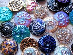 Czech art glass buttons