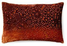 Floral 12x18 Velvet Pillow, Golden Brown
