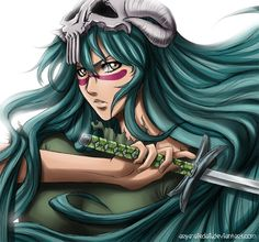 Nelliel - bleach. The question is: where did she hide her sword all that time?How can she realised her resurection when she don't even has her zanpakuto?