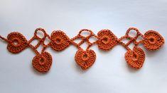 Урок вязания крючком. Кайма с листочками How to crochet Hearts Stitch part1