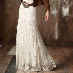 western lace maxi skirt | Gorgeous lace maxi skirt. wide western belt.... denim jacket... custom boots...