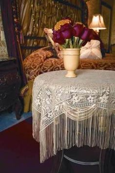 Fringed Chantilly Lace    Countless creative applications for the romantic home...piano scarf, window drape, and even possibly a shawl.