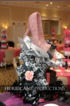 Couture pink and black wedding centerpieces.