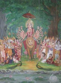 Durga Kali, Saraswati Goddess, Kali Goddess, Mother Goddess, Shiva Shakti, Mysore Painting, Hindu Deities, Hinduism, Durga Images