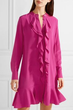 Tory Burch - Jane Ruffled Silk Crepe De Chine Dress - Magenta
