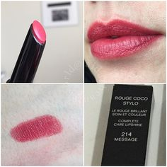 Chanel rouge coco stylo Message 214 Putting On Makeup, Chanel, Still Working, Messages, Lipstick Colors, Skin Care Tips, Swatch, Make Up, Cosmetics