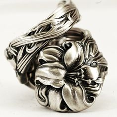 Stargazer Lily Spoon Ring Lovely Frontenac Sterling by Spoonier