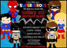 SUPERHERO Birthday Invitation Boys and Girls by SewKawaiiKids