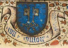 """Armoiries de Hugues de Clugny: d'azur à deux clefs d'or entrelacées à la bordure engrêlée d'argent, avec la devise """"Bon vouloir"""" et les initiales d. et m. (f°7r) -- """"Horae ad usum romanum"""", 1450-1460 [BNF, Ms NAL 3209]"""