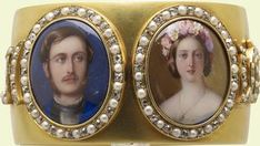 Prince Albert and Queen Victoria 1859.  Handpainted miniature portraits.  Appears to be a bracelet.