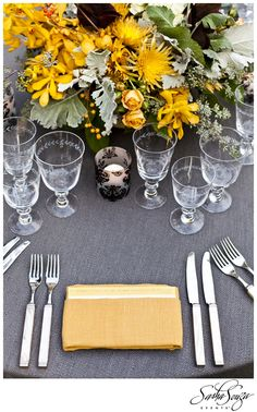 gunmetal gray and yellow Weekend Wedding in Sonoma: Dinner & Concert for Candice & Chip » Sparkliatti
