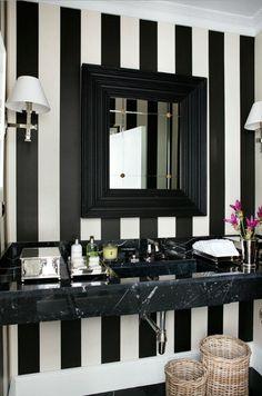 36 ideas striped wallpaper bedroom black and white Modern Home Furniture, White Furniture, Bathroom Furniture, Bathroom Interior, Wallpaper Bathroom Vanity, Striped Wallpaper Bathroom, Bathroom Vanities, Black White Bathrooms, White Bathroom Decor