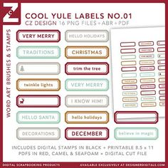 Cool Yule Labels Brushes and Stamps No. 01 - Photoshop Brushes