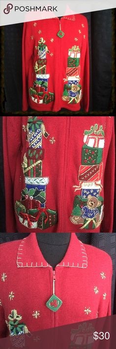 Christmas Sweater Vintage Zippered Cardigan Christmas Sweater / Vintage Zipper Cardigan / Small shoulder pads / Warm & Comfy! Heirloom Collectibles Sweaters Cardigans