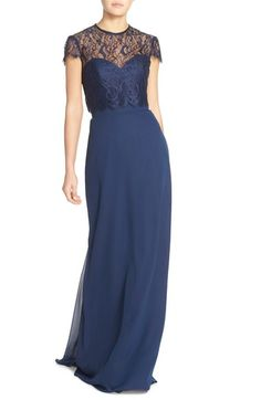 Hayley Paige Occasions Strapless Chiffon A-Line Gown with Removable Lace Overlay available at #Nordstrom