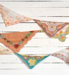 retro party or wedding decorations with vintage handkerchief bunting
