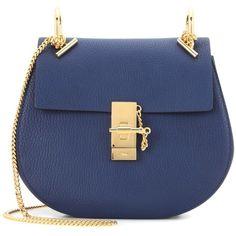 Chloé Drew Leather Shoulder Bag (23.454.420 IDR) ❤ liked on Polyvore featuring bags, handbags, shoulder bags, blue, leather handbags, chloe shoulder bag, real leather handbags, blue shoulder bag and blue handbags