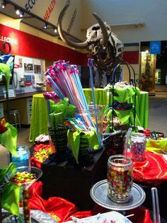 """Candy bar for a """"Walk on the Wild Side"""" themed prom at the Florida Museum."""
