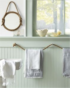 30 Brilliant Bathroom Organization and Storage DIY Solutions - Who would have thought that rope could be a beautiful bathroom decoration? You can make towel holders and many other things out interior bathroom design decorating before and after design Diy Bathroom, Coastal Decor, Interior, Bedroom Themes, Green Bathroom, Nautical Bathrooms, Nautical Theme Bedrooms, Home Diy, Bathroom Decor