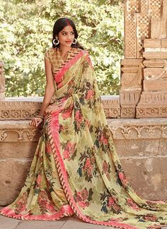 Thriving Beige Colour Georgette Printed Saree  https://www.gnoutlet.com/collections/sarees/products/gracefull-red-colour-georgette-lace-border-work-saree