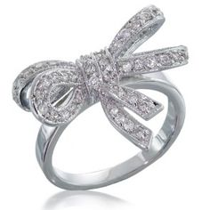 Vintage Style CZ Diamond Double Ribbon Bow Ring