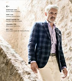 SPORTCOAT  $525  Summer Navy Linen Plaid SHIRT  $109  Lavender Summer Oxford POCKET SQUARE  $49  Sea Blue Linen Open Paisley TROUSERS  $185  White Luxury Italian Linen BELT  $135  Grey Custom Suede with Standard Buckle http://denisemcbride.jhilburn.com/lookbooks/spring-summer1-2014#4