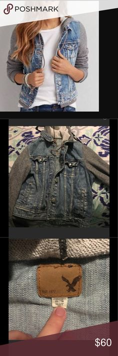 American eagle jean hoodie jacket size xl In great conditions wore only a few times very very comfy! Great ae jacket! Checkout my listings for more awesome stuff! American Eagle Outfitters Jackets & Coats