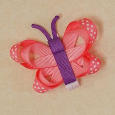 Easter Butterfly hair clip (pink/purple) - animal ribbon alligator clips - by FrizzleTree on madeit