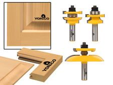 Yonico 12343 3 Bit Raised Panel Cabinet Door Router Bit Set, Round Over Rail and. - Yonico 12343 3 Bit Raised Panel Cabinet Door Router Bit Set, Round Over Rail and Stile with Panel R - Cnc Router Bits, Wood Router, Router Woodworking, Woodworking Techniques, Fine Woodworking, Wood Lathe, Lathe Projects, Diy Wood Projects, Woodworking Projects