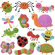 Set of 13 BUG Machine Embroidery Applique Designs via Etsy Applique Templates, Applique Patterns, Applique Designs, Quilt Patterns, Owl Templates, Machine Embroidery Applique, Applique Quilts, Hand Embroidery, Machine Quilting