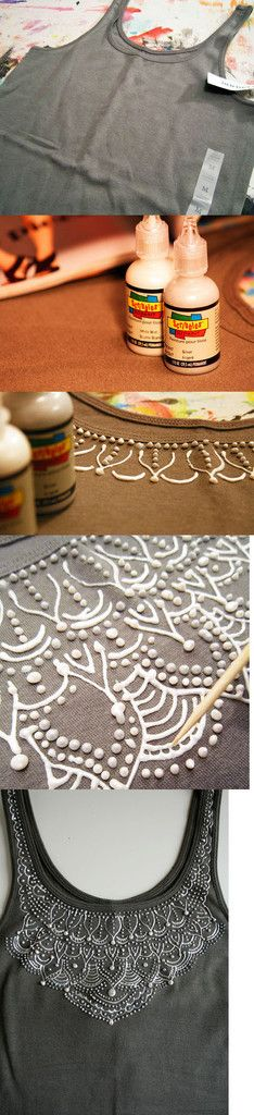 Diy lacy-look shirt done with fabric paint