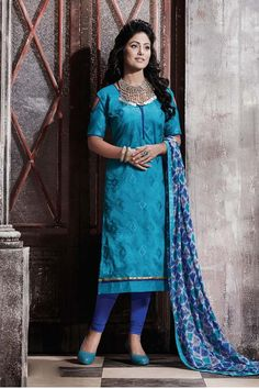 Sky Blue Chanderi Churidar Salwar Kameez