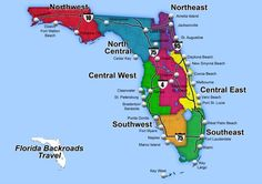 This web page has day trips, scenic drives, and related maps for all 8 of Florida's geographic regions.