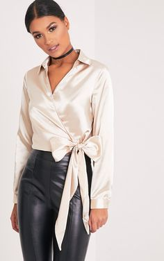 Alex Champagne Satin Wrap Cropped Blouse Image 1