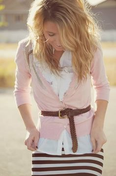 Belted cardigan... brown, pink and white. Adorable!