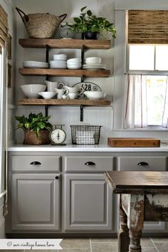 Open shelves, gray kitchen