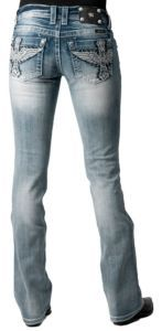 Miss Me ladies Cream winged cross w/ crystals boot cut jean $109