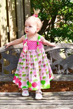 Knot Dress Toddler Girl Boutique Elephants on by GROOVYGURLZ, $47.00