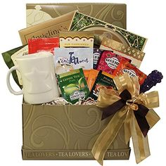 Tea Lovers Care Package Snacks and Treats Gift Box with Mug - Cool Kitchen Gifts