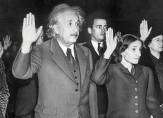 Albert Einstein and his daughter become citizens of the United States rather than return to Germany under Hitler. October 1, 1940