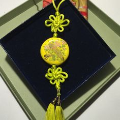 Yellow pendant necklace, peacock detailing With Chinese knotting, exquisite details on peacock (see picture 4) Jewelry Necklaces