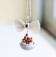 Strawberry Ice Cream Sundae Food Necklace Miniature Food Jewelry - Food Jewelry SALE