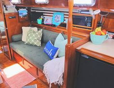Our cozy sailboat home.