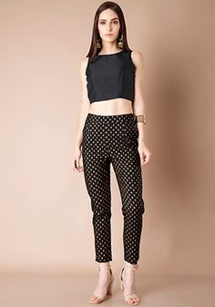 cc352fe01f2b0 Buy women Black Brocade Silk Cigarette Pants online in India. Shop latest  collection of Cigarette Pants for women with COD and easy return at Indya.