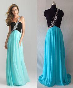 Blue/green long chiffon beaded dresses/evening dress/one shoulder bridesmaid dress/formal dress/celebrity dresses/prom dress/cocktail dress on Etsy, 114,28