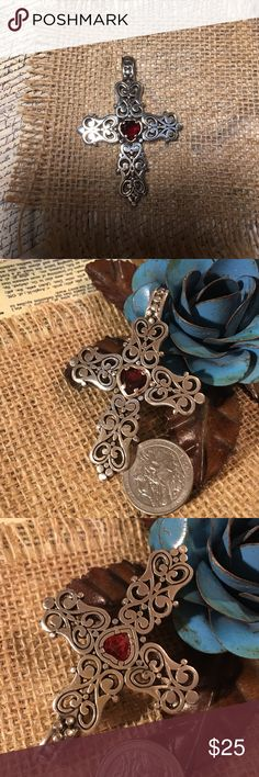 Brighton Criss Pendant Beautiful, large Brighton Cross Pendant. Shows some wear but still very pretty.  Silver with one dark red stone. Brighton Jewelry Necklaces
